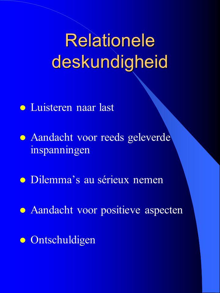 Relationele deskundigheid l Luisteren naar last l Aandacht voor reeds geleverde inspanningen l Dilemma's au sérieux nemen l Aandacht voor positieve as