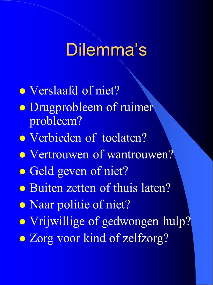 Dilemma's l Verslaafd of niet? l Drugprobleem of ruimer probleem? l Verbieden of toelaten? l Vertrouwen of wantrouwen? l Geld geven of niet? l Buiten