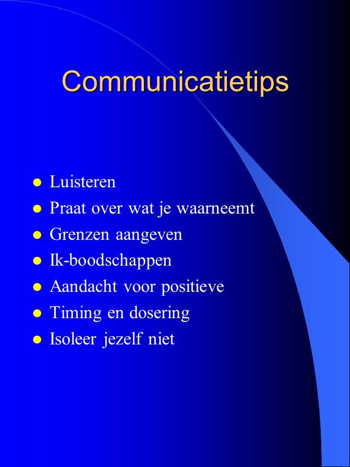 Communicatietips l Luisteren l Praat over wat je waarneemt l Grenzen aangeven l Ik-boodschappen l Aandacht voor positieve l Timing en dosering l Isole