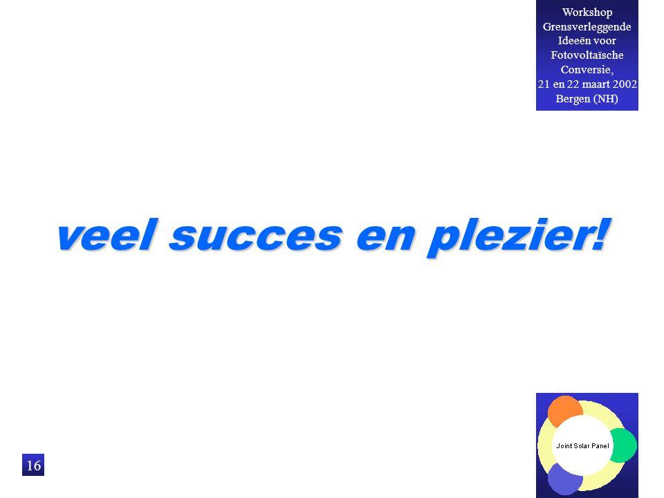 Workshop Grensverleggende Ideeën voor Fotovoltaïsche Conversie, 21 en 22 maart 2002 Bergen (NH) 16 veel succes en plezier!