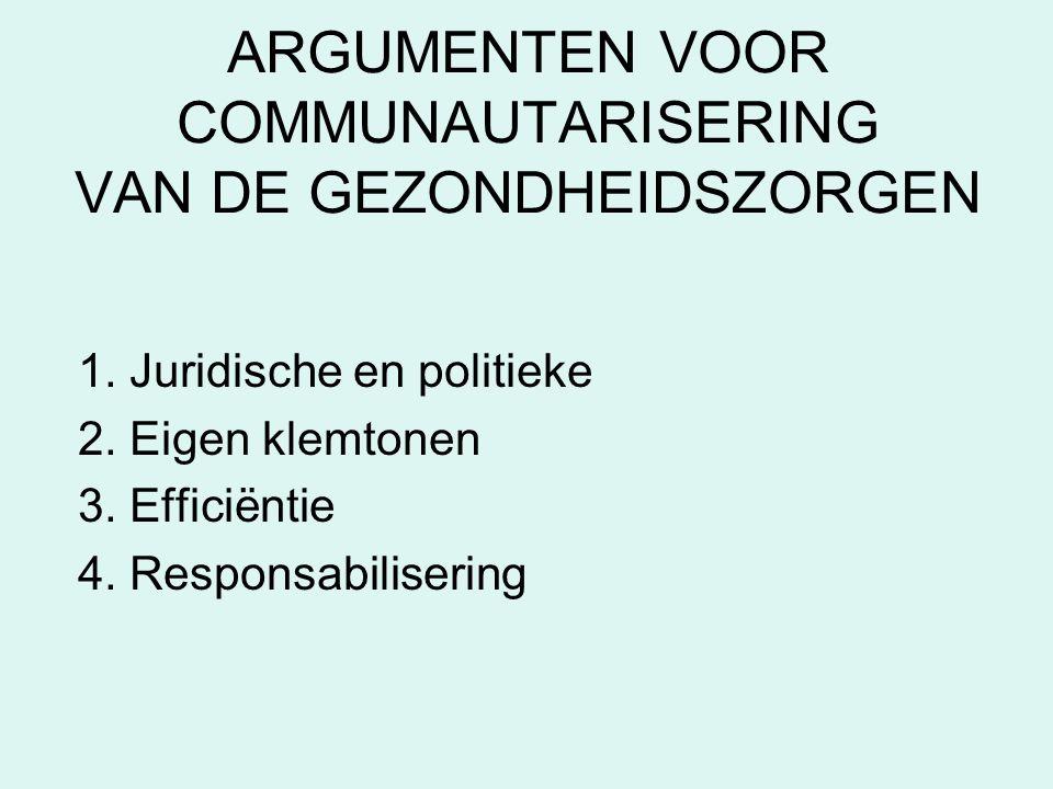 ARGUMENTEN VOOR COMMUNAUTARISERING VAN DE GEZONDHEIDSZORGEN 1. Juridische en politieke 2. Eigen klemtonen 3. Efficiëntie 4. Responsabilisering