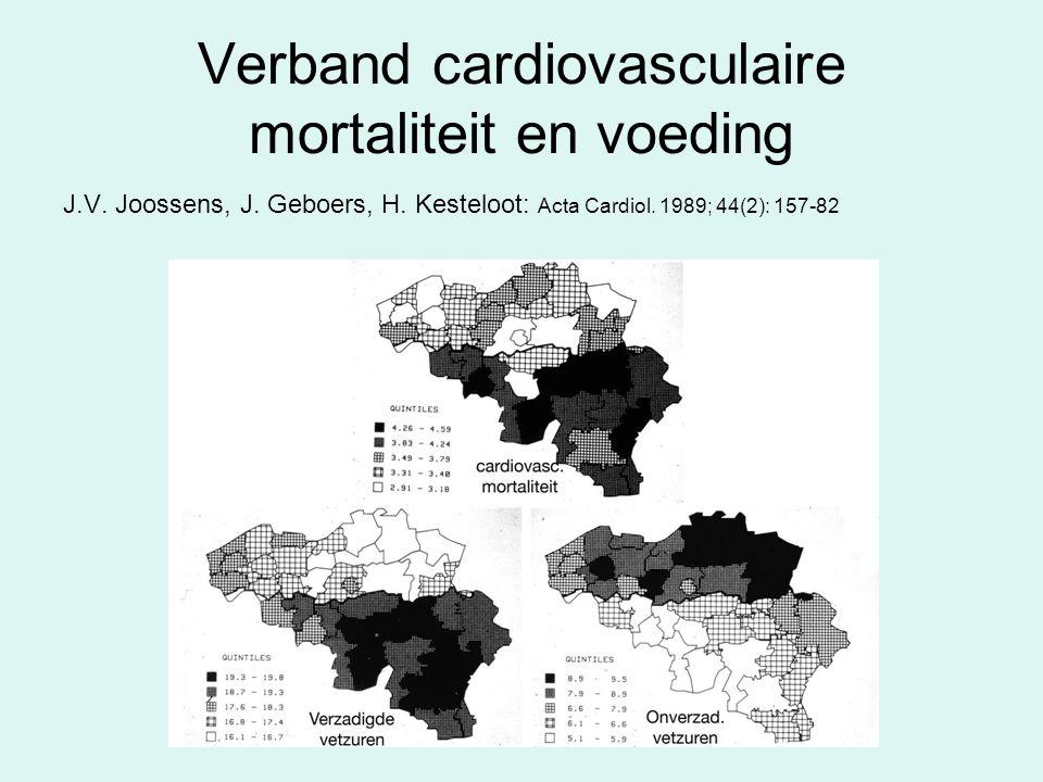 Verband cardiovasculaire mortaliteit en voeding J.V. Joossens, J. Geboers, H. Kesteloot: Acta Cardiol. 1989; 44(2): 157-82