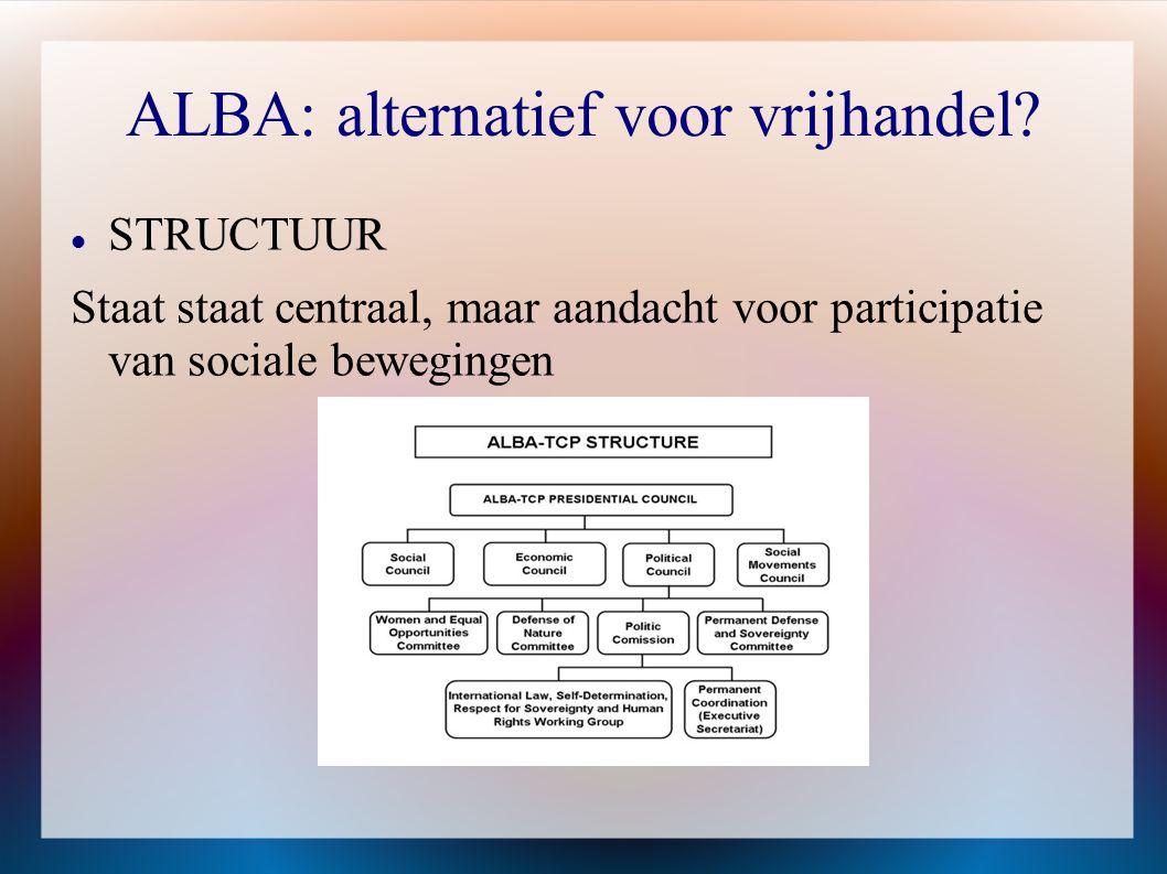 ALBA: alternatief voor vrijhandel?  STRUCTUUR Staat staat centraal, maar aandacht voor participatie van sociale bewegingen