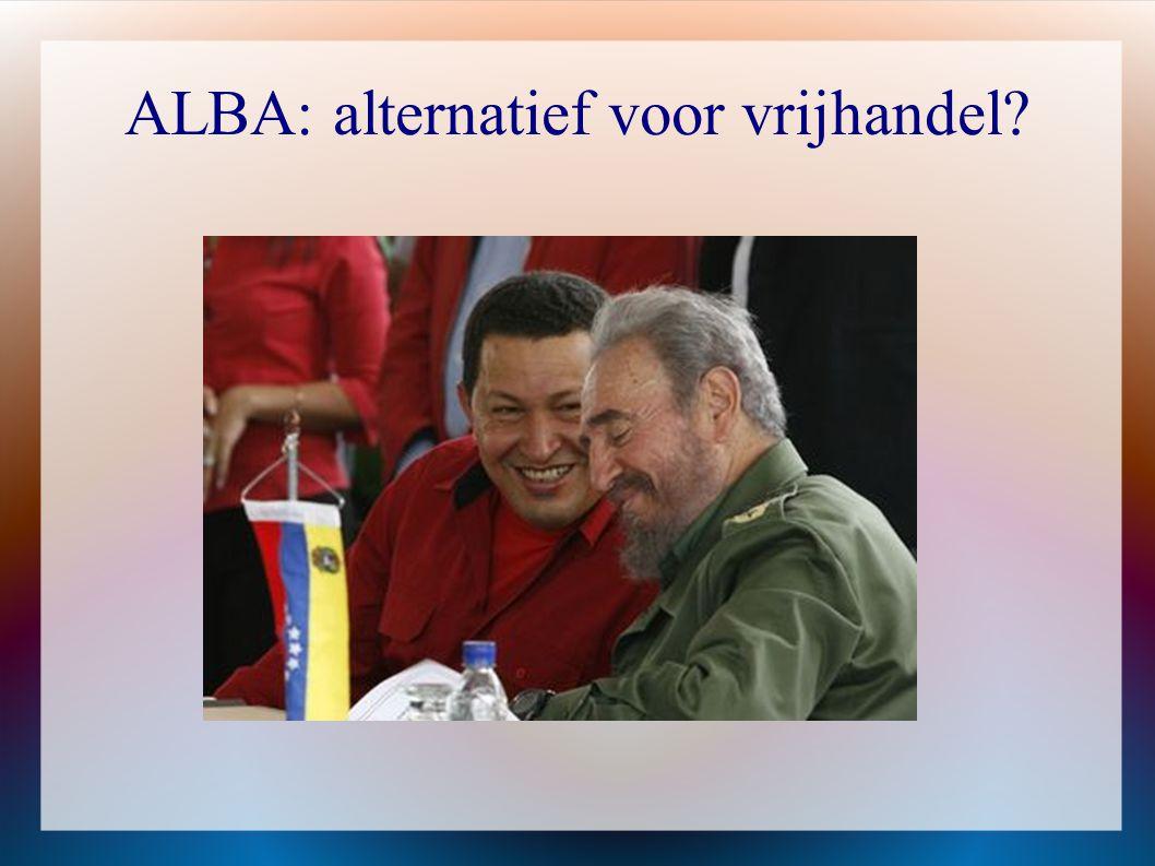  Ontstaan in 2004 op initiatief van Fidel Castro (Cuba) en Hugo Chavez ( Venezuela)  Inspiratiebron = Bolivar  In 2004: twee leden- Cuba en Venezuela olie in ruil voor menselijk kapitaal (gezondheid en onderwijs)  2006: Bolivia ( Evo Morales) vervoegt de ALBA  2007: Nicaragua (Daniel Ortega) vervoegt de ALBA  2009: Ecuador (Rafael Correa) vervoegt de ALBA
