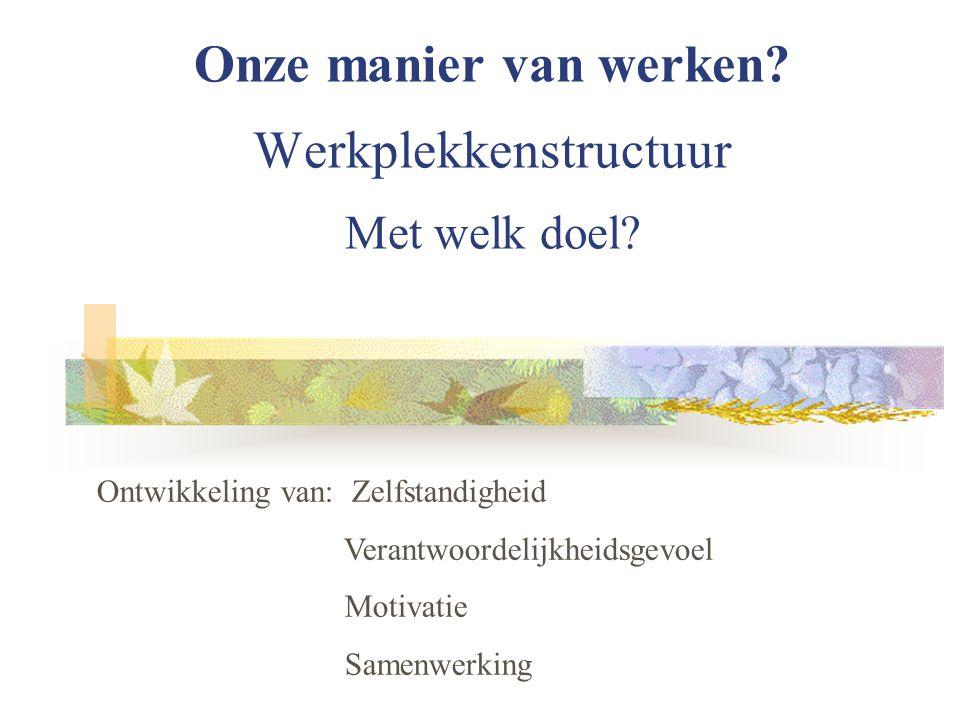 Onze manier van werken? Werkplekkenstructuur Met welk doel? Ontwikkeling van: Zelfstandigheid Verantwoordelijkheidsgevoel Motivatie Samenwerking