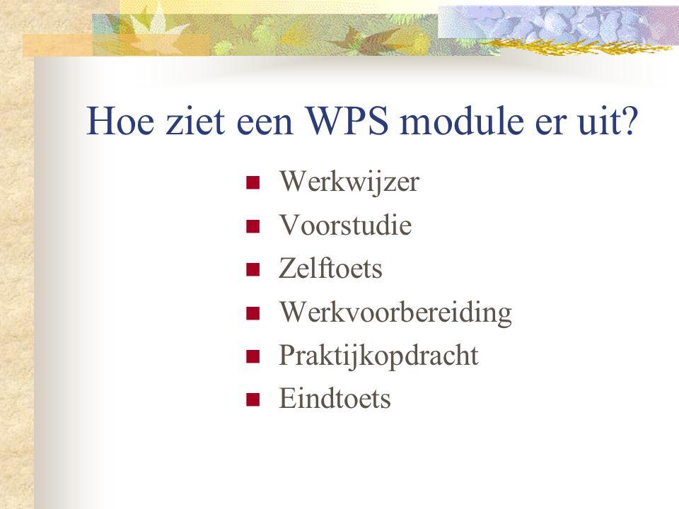 Hoe ziet een WPS module er uit?  Werkwijzer  Voorstudie  Zelftoets  Werkvoorbereiding  Praktijkopdracht  Eindtoets