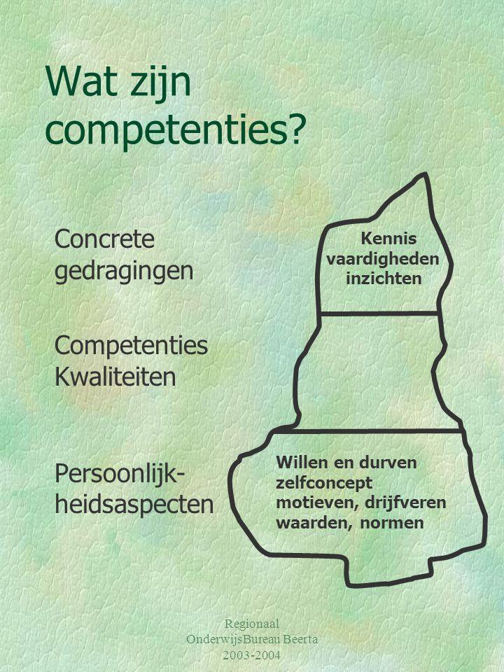 Regionaal OnderwijsBureau Beerta 2003-2004 Wat zijn competenties? Concrete gedragingen Competenties Kwaliteiten Persoonlijk- heidsaspecten Willen en d