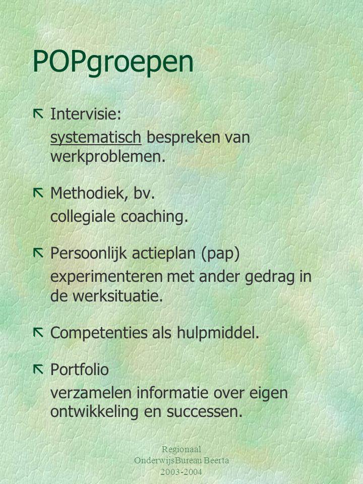 Regionaal OnderwijsBureau Beerta 2003-2004 POPgroepen ãIntervisie: systematisch bespreken van werkproblemen. ãMethodiek, bv. collegiale coaching. ãPer