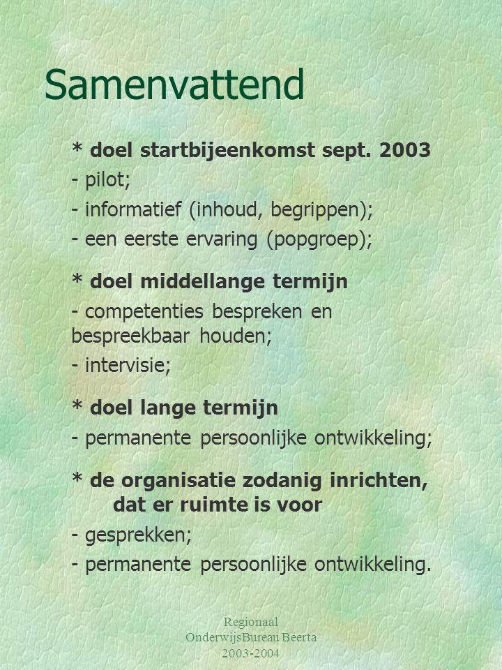 Regionaal OnderwijsBureau Beerta 2003-2004 Samenvattend * doel startbijeenkomst sept. 2003 - pilot; - informatief (inhoud, begrippen); - een eerste er