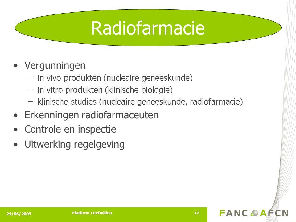 24/06/2009 Platform Leefmilieu12 •Vergunningen –in vivo produkten (nucleaire geneeskunde) –in vitro produkten (klinische biologie) –klinische studies (nucleaire geneeskunde, radiofarmacie) •Erkenningen radiofarmaceuten •Controle en inspectie •Uitwerking regelgeving Radiofarmacie
