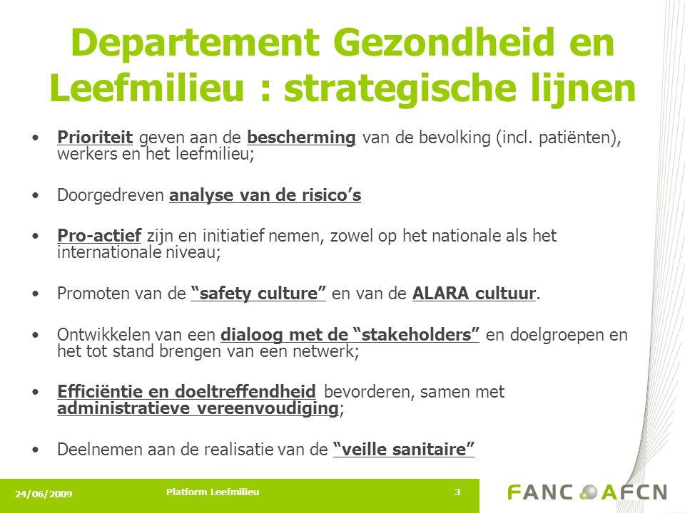 24/06/2009 Platform Leefmilieu3 •Prioriteit geven aan de bescherming van de bevolking (incl.