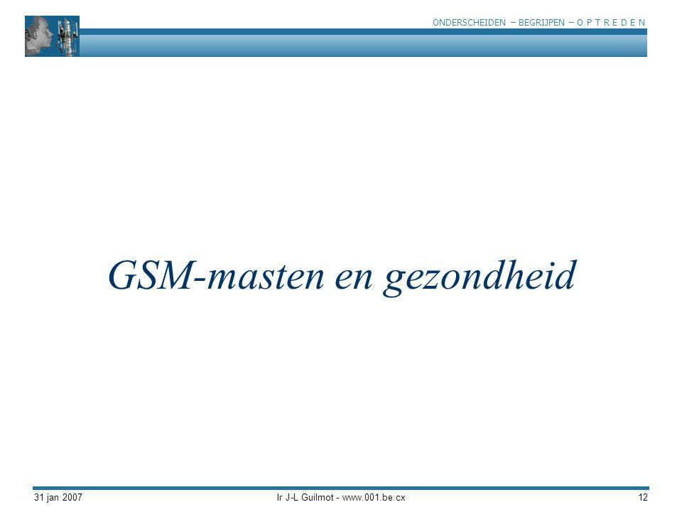 ONDERSCHEIDEN – BEGRIJPEN – O P T R E D E N 31 jan 2007Ir J-L Guilmot - www.001.be.cx12 GSM-masten en gezondheid