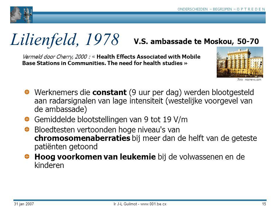 ONDERSCHEIDEN – BEGRIJPEN – O P T R E D E N 31 jan 2007Ir J-L Guilmot - www.001.be.cx15 Lilienfeld, 1978 Werknemers die constant (9 uur per dag) werde