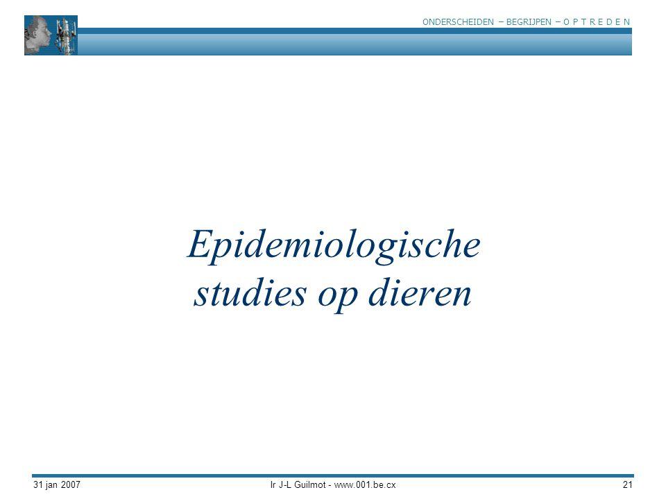ONDERSCHEIDEN – BEGRIJPEN – O P T R E D E N 31 jan 2007Ir J-L Guilmot - www.001.be.cx21 Epidemiologische studies op dieren