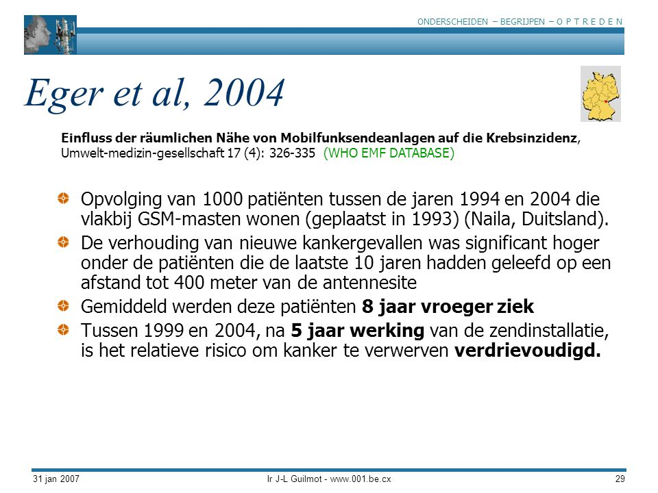 ONDERSCHEIDEN – BEGRIJPEN – O P T R E D E N 31 jan 2007Ir J-L Guilmot - www.001.be.cx29 Eger et al, 2004 Opvolging van 1000 patiënten tussen de jaren