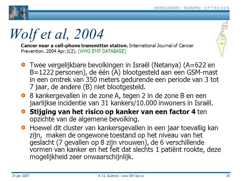 ONDERSCHEIDEN – BEGRIJPEN – O P T R E D E N 31 jan 2007Ir J-L Guilmot - www.001.be.cx30 Wolf et al, 2004 Twee vergelijkbare bevolkingen in Israël (Net