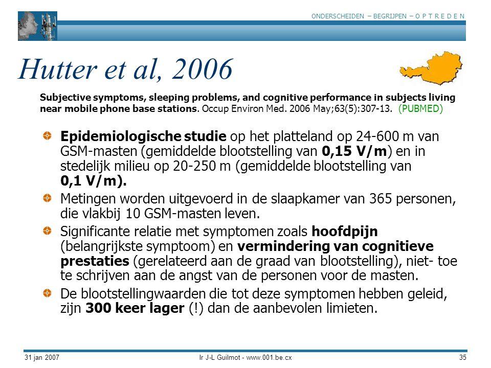 ONDERSCHEIDEN – BEGRIJPEN – O P T R E D E N 31 jan 2007Ir J-L Guilmot - www.001.be.cx35 Hutter et al, 2006 Epidemiologische studie op het platteland o