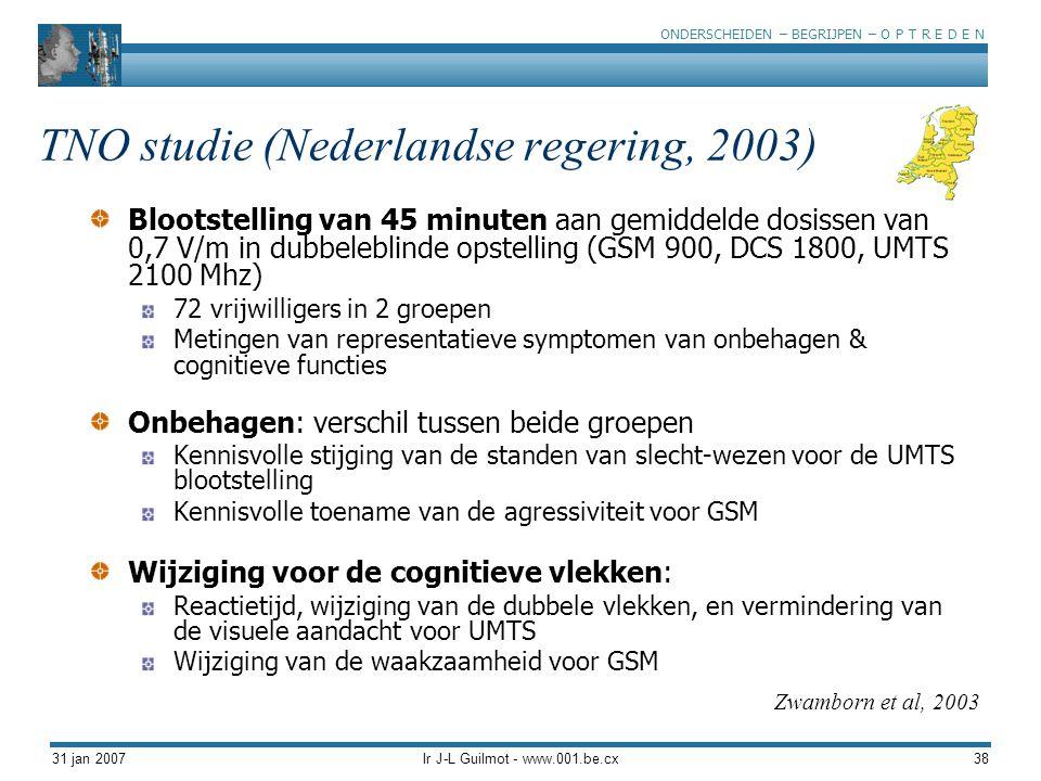 ONDERSCHEIDEN – BEGRIJPEN – O P T R E D E N 31 jan 2007Ir J-L Guilmot - www.001.be.cx38 TNO studie (Nederlandse regering, 2003) Blootstelling van 45 m