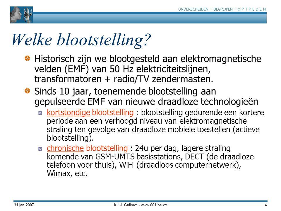 ONDERSCHEIDEN – BEGRIJPEN – O P T R E D E N 31 jan 2007Ir J-L Guilmot - www.001.be.cx25 Stever et al, 2005 De honingbijen als mogelijke bio-indicator voor de niet- thermische gevolgen van EMF.