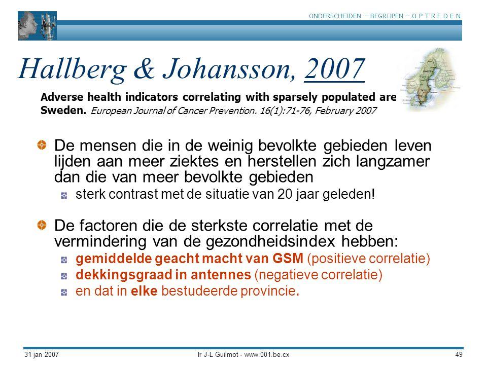 ONDERSCHEIDEN – BEGRIJPEN – O P T R E D E N 31 jan 2007Ir J-L Guilmot - www.001.be.cx49 Hallberg & Johansson, 2007 De mensen die in de weinig bevolkte