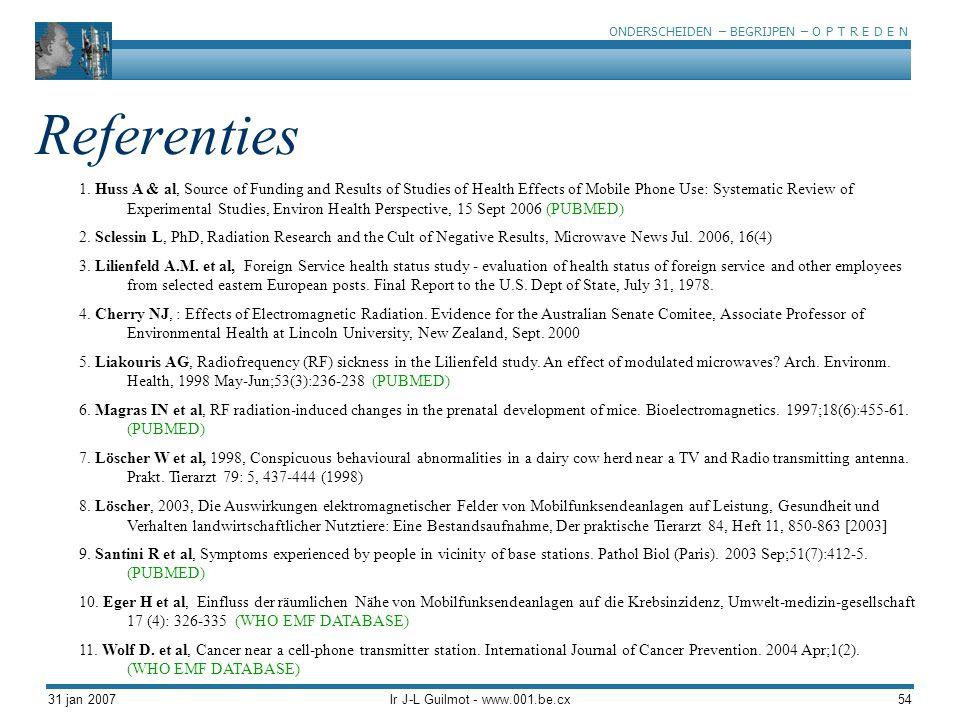 ONDERSCHEIDEN – BEGRIJPEN – O P T R E D E N 31 jan 2007Ir J-L Guilmot - www.001.be.cx54 Referenties 1. Huss A & al, Source of Funding and Results of S