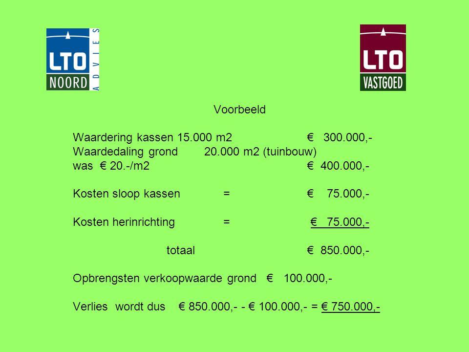 Voorbeeld Waardering kassen 15.000 m2€ 300.000,- Waardedaling grond 20.000 m2 (tuinbouw) was € 20.-/m2 € 400.000,- Kosten sloop kassen = € 75.000,- Ko
