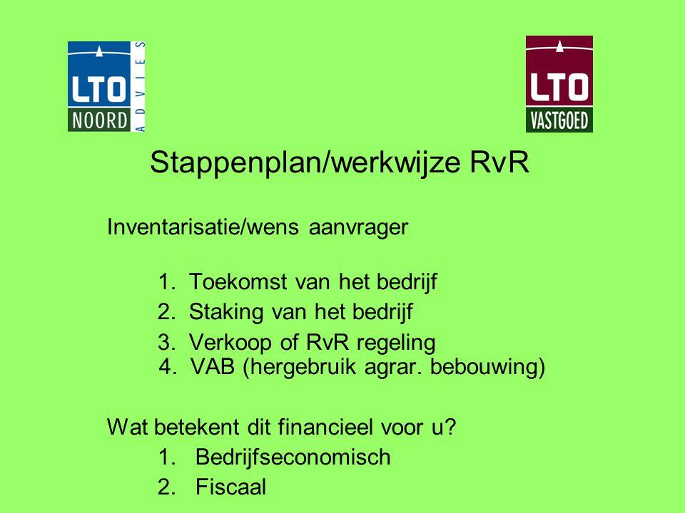Stappenplan/werkwijze RvR Inventarisatie/wens aanvrager 1. Toekomst van het bedrijf 2. Staking van het bedrijf 3. Verkoop of RvR regeling 4. VAB (herg