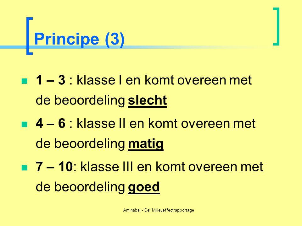 Aminabel - Cel Milieueffectrapportage Principe (3)  1 – 3 : klasse I en komt overeen met de beoordeling slecht  4 – 6 : klasse II en komt overeen me