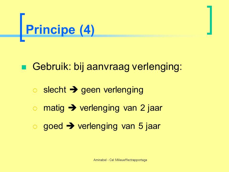 Aminabel - Cel Milieueffectrapportage Principe (4)  Gebruik: bij aanvraag verlenging:  slecht  geen verlenging  matig  verlenging van 2 jaar  go