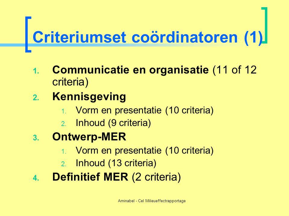 Aminabel - Cel Milieueffectrapportage Criteriumset coördinatoren (1) 1. Communicatie en organisatie (11 of 12 criteria) 2. Kennisgeving 1. Vorm en pre