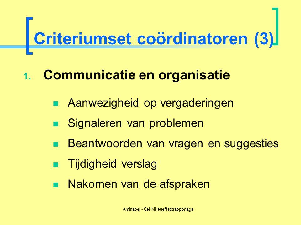 Aminabel - Cel Milieueffectrapportage Criteriumset coördinatoren (3) 1. Communicatie en organisatie  Aanwezigheid op vergaderingen  Signaleren van p