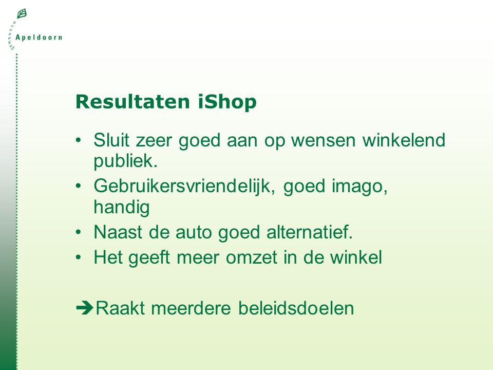 Resultaten iShop •Sluit zeer goed aan op wensen winkelend publiek.
