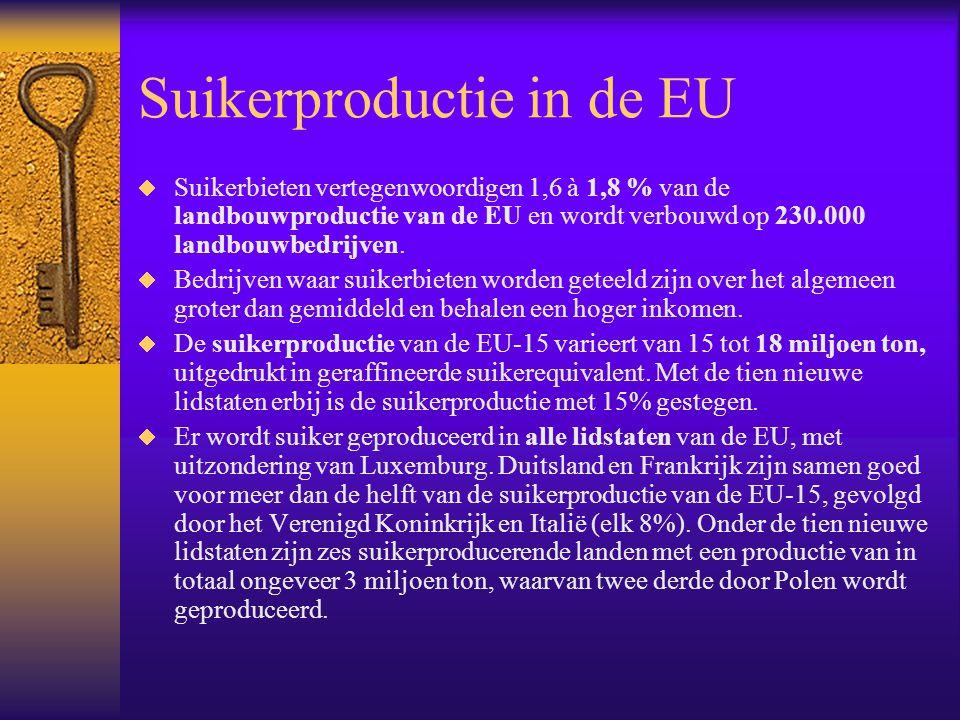 Suikerproductie in de EU  Suikerbieten vertegenwoordigen 1,6 à 1,8 % van de landbouwproductie van de EU en wordt verbouwd op 230.000 landbouwbedrijve