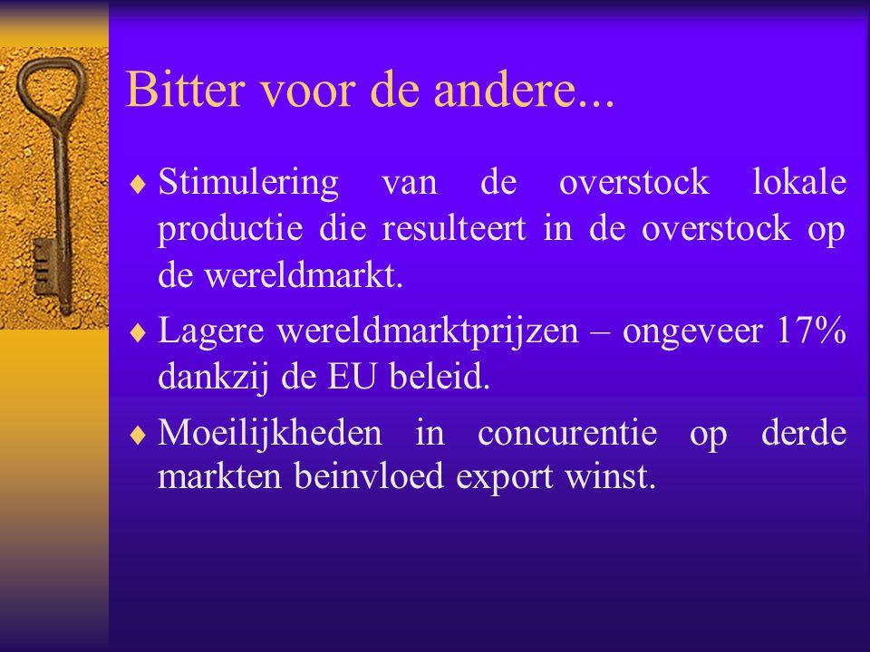 Bitter voor de andere...  Stimulering van de overstock lokale productie die resulteert in de overstock op de wereldmarkt.  Lagere wereldmarktprijzen