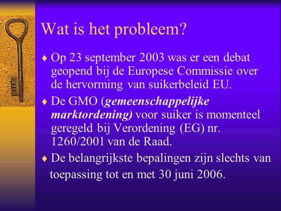 Wat is het probleem?  Op 23 september 2003 was er een debat geopend bij de Europese Commissie over de hervorming van suikerbeleid EU.  De GMO (gemee