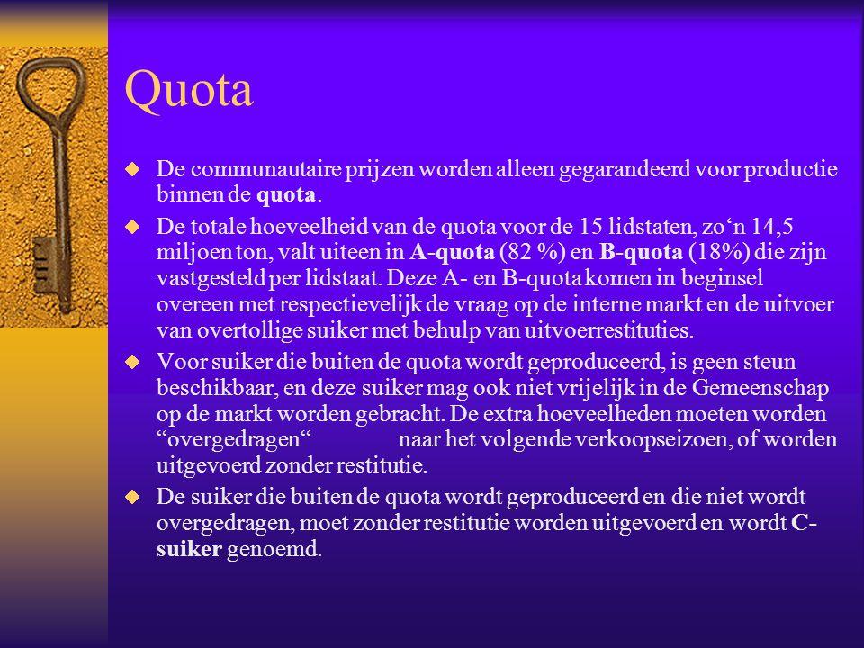 Quota  De communautaire prijzen worden alleen gegarandeerd voor productie binnen de quota.  De totale hoeveelheid van de quota voor de 15 lidstaten,