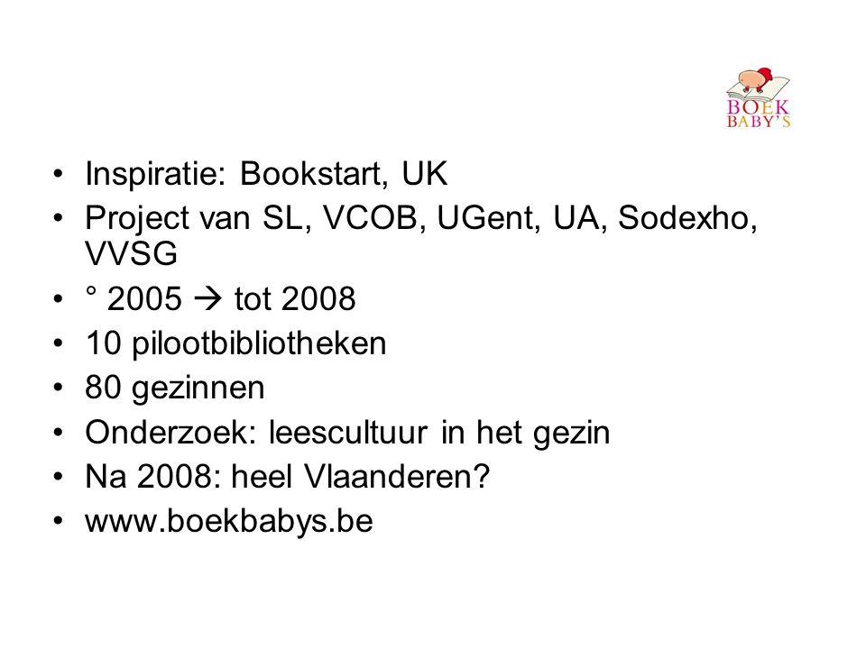 •Inspiratie: Bookstart, UK •Project van SL, VCOB, UGent, UA, Sodexho, VVSG •° 2005  tot 2008 •10 pilootbibliotheken •80 gezinnen •Onderzoek: leescultuur in het gezin •Na 2008: heel Vlaanderen.
