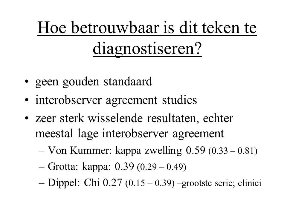 Hoe betrouwbaar is dit teken te diagnostiseren? •geen gouden standaard •interobserver agreement studies •zeer sterk wisselende resultaten, echter mees