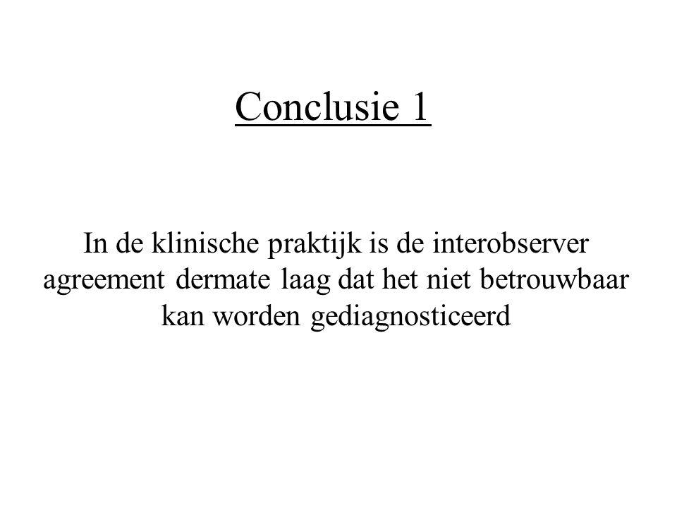 Conclusie 1 In de klinische praktijk is de interobserver agreement dermate laag dat het niet betrouwbaar kan worden gediagnosticeerd