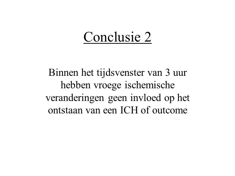 Conclusie 2 Binnen het tijdsvenster van 3 uur hebben vroege ischemische veranderingen geen invloed op het ontstaan van een ICH of outcome