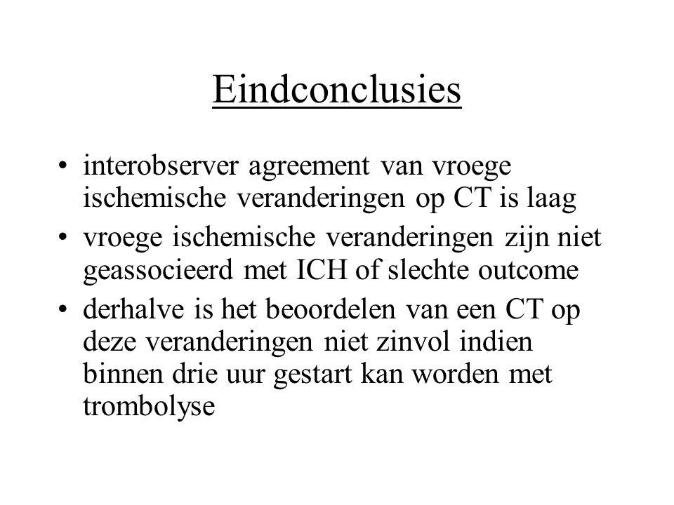 Eindconclusies •interobserver agreement van vroege ischemische veranderingen op CT is laag •vroege ischemische veranderingen zijn niet geassocieerd me