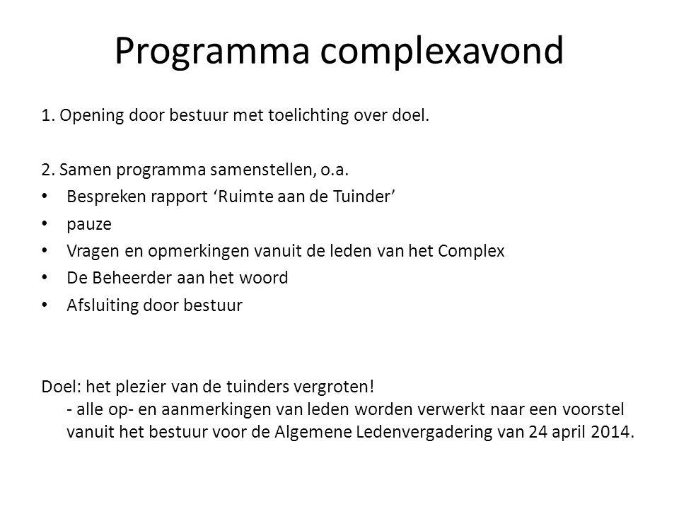 Programma complexavond 1. Opening door bestuur met toelichting over doel.