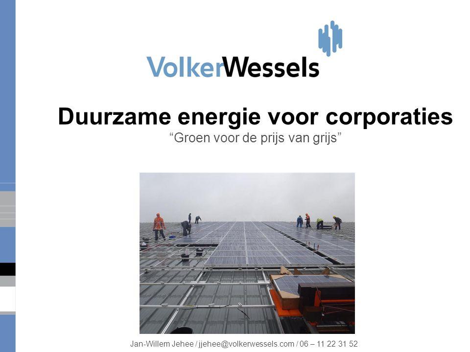 Duurzame energie voor corporaties Groen voor de prijs van grijs Jan-Willem Jehee / jjehee@volkerwessels.com / 06 – 11 22 31 52