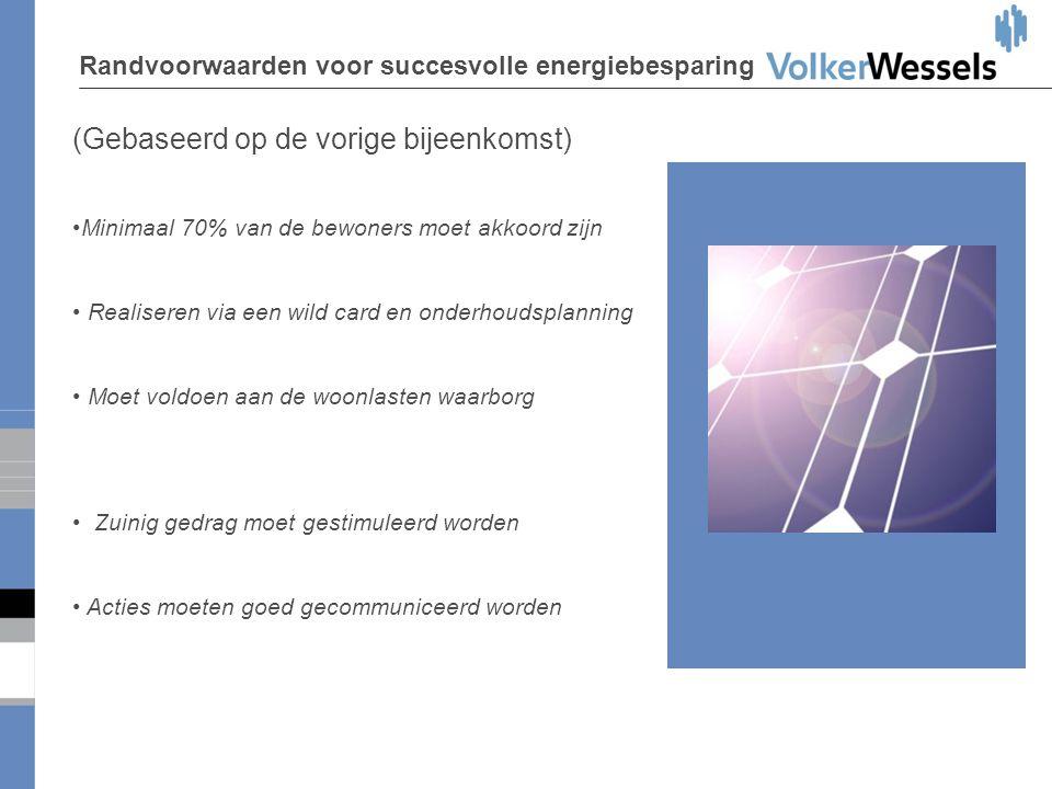 Randvoorwaarden voor succesvolle energiebesparing (Gebaseerd op de vorige bijeenkomst) •Minimaal 70% van de bewoners moet akkoord zijn • Realiseren vi