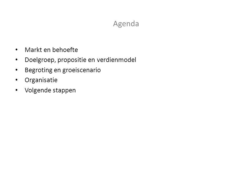 Agenda • Markt en behoefte • Doelgroep, propositie en verdienmodel • Begroting en groeiscenario • Organisatie • Volgende stappen