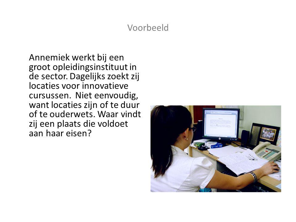 Voorbeeld Annemiek werkt bij een groot opleidingsinstituut in de sector.