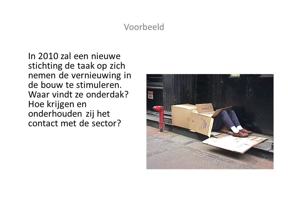Voorbeeld In 2010 zal een nieuwe stichting de taak op zich nemen de vernieuwing in de bouw te stimuleren.