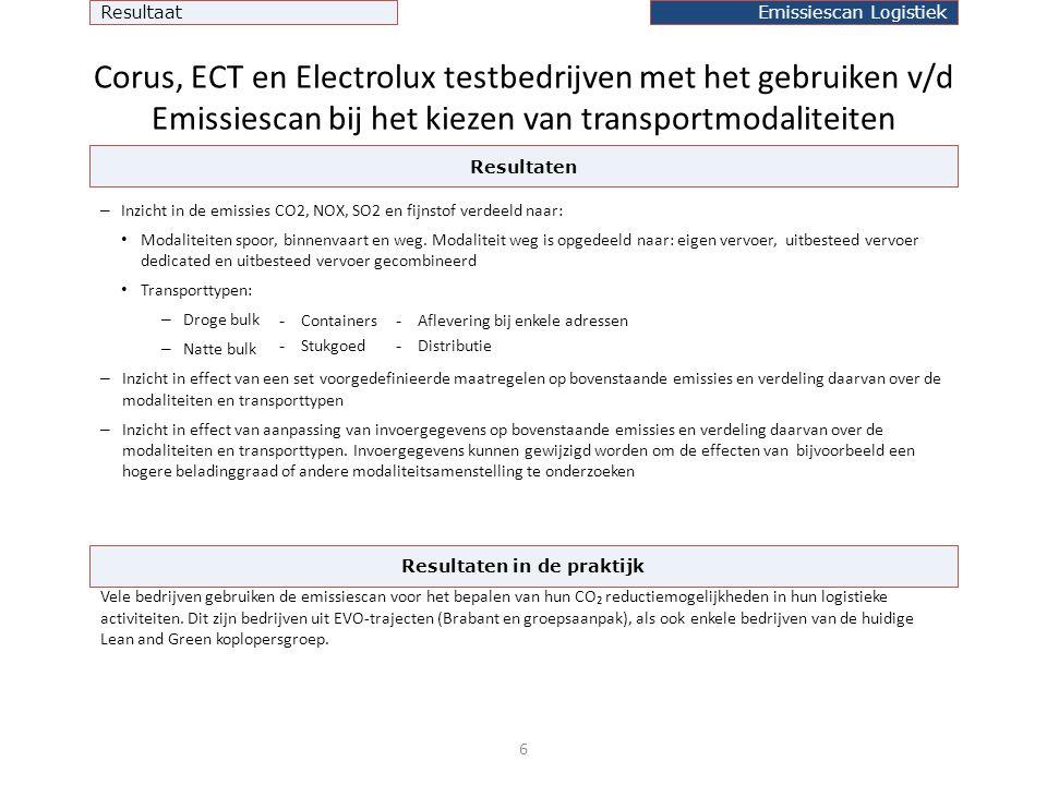 Corus, ECT en Electrolux testbedrijven met het gebruiken v/d Emissiescan bij het kiezen van transportmodaliteiten – Inzicht in de emissies CO2, NOX, SO2 en fijnstof verdeeld naar: • Modaliteiten spoor, binnenvaart en weg.