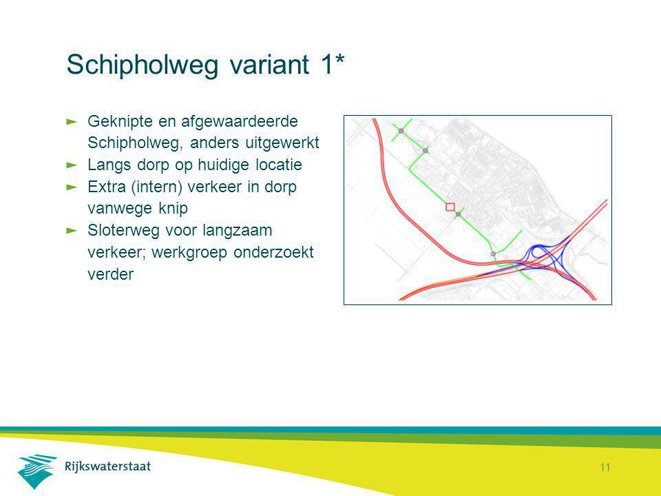 11 Schipholweg variant 1* Geknipte en afgewaardeerde Schipholweg, anders uitgewerkt Langs dorp op huidige locatie Extra (intern) verkeer in dorp vanwe