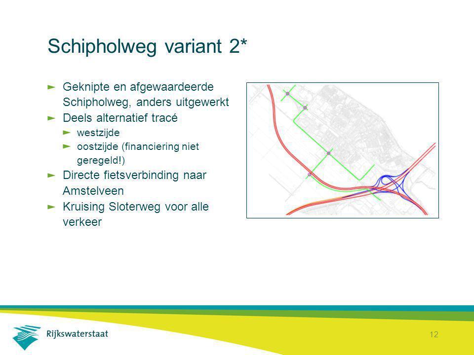 12 Schipholweg variant 2* Geknipte en afgewaardeerde Schipholweg, anders uitgewerkt Deels alternatief tracé westzijde oostzijde (financiering niet ger
